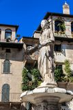 PiazzadelleErbe fontana madonna, Verona, Veneto, Italien arkivfoton