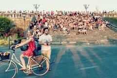 Piazzale的米开朗基罗人们在佛罗伦萨 库存照片