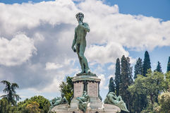 Piazzale的米开朗基罗大卫在佛罗伦萨,意大利 免版税库存照片