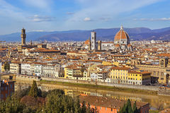 从Piazzale米开朗基罗,托斯卡纳,意大利的佛罗伦萨 免版税库存图片