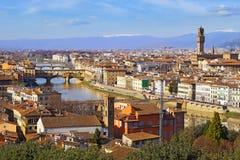 从Piazzale米开朗基罗,托斯卡纳,意大利的佛罗伦萨 免版税库存照片