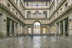 Piazzale Degli Uffizi, Florence, Italy. FLORENCE, ITALY, JANUARY - 2018 - Exterior view of famous uffizi gallery at florence city, Italy royalty free stock images