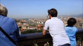 piazzale Miguel Ángel, Florencia, Italia almacen de video