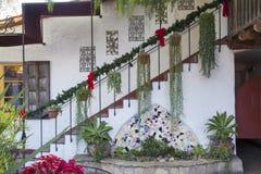 Piazzamitte mit Hängepflanzen und Töpfen auf Treppe gegen ein a Stockbild