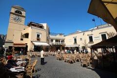 Piazzetta center histórico do la de Capri Imagens de Stock