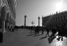 Piazzetta San Marco with Lion of Venice.Black and White photo. Piazzetta San Marco with Lion of Venice 2019. Lion is a trademark representing a Venice.And the stock photos