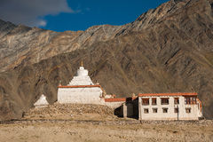 Pibiting Gompa, Padum, Zanskar valley, north India. Pibiting Gompa, with Zanskar mountain range in background Stock Images