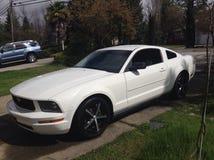 pic凉快的白色Ford Mustang 免版税库存图片