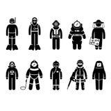 防护套服齿轮一致的穿戴棍子形象Pic 图库摄影