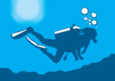 Pic di vettore dell'operatore subacqueo Fotografia Stock