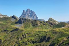 Pic du Midi d Ossau from Anayet plateau in Spanish Pyrenees, Spain. Pic du Midi d Ossau from Anayet plateau in Spanish Pyrenees, Aragon, Spain stock photo