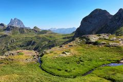 Pic du Midi d Ossau from Anayet plateau in Spanish Pyrenees, Spain. Pic du Midi d Ossau from Anayet plateau in Spanish Pyrenees, Aragon, Spain royalty free stock photography