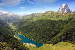 The Pic du Midi d`Ossau in the French Pyrenees. stock images