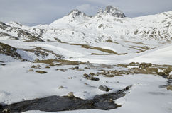 Pic du midi d'Ossau in winter from Portalet col Stock Photos