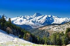 Pic du Midi de Bigorre in the french Pyrenees with snow. The Pic du Midi de Bigorre in the french Pyrenees with snow Royalty Free Stock Photo