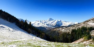 Pic du Midi de Bigorre in the french Pyrenees with snow Royalty Free Stock Photography