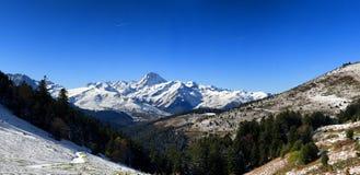 Pic du Midi de Bigorre in the french Pyrenees with snow. The Pic du Midi de Bigorre in the french Pyrenees with snow Stock Photos