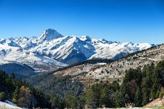 Pic du Midi de Bigorre in the french Pyrenees with snow. A Pic du Midi de Bigorre in the french Pyrenees with snow Stock Photography
