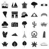Pic geplaatste pictogrammen, eenvoudige stijl Royalty-vrije Stock Afbeeldingen