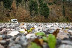 Small Van in a Big Place. royalty free stock photography