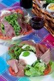 Pic-nic basket and salads Stock Images