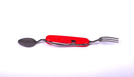 Swiss army knife , with spoon and fork Stock Photos