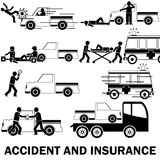 Pic up hit a man. Shape icons about pedestrian hit by pic up truck And call for emergency vehicles Claim receipt of insurance and the towing truck service Royalty Free Stock Image