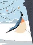 Pica-pau-cinzento na árvore ilustração do vetor