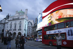 Picaddilly Circus, London, Great Britain. People and traffic in Picadilly Circus in London.A famous public space in London's West End,it was built in 1819 to Royalty Free Stock Photos