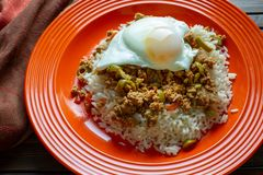 Picadillo a Cuban dish made of ground beef served on a bed of rice with a sunny side up egg on a red plate on a wooden kitchen tab. Le royalty free stock image