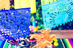 Picado banner. Over the table at the garden party Stock Photography