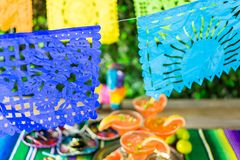 Picado banner. Over the table at the garden party Royalty Free Stock Photo