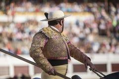 Picador bullfighter, lancer whose job it is to weaken bull's nec Stock Photo