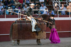 Picador bullfighter, lancer whose job it is to weaken bull's neck muscles Stock Photography