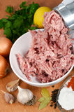 Picadora de carne e forcemeat Fotografia de Stock Royalty Free