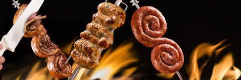 Picanha和cuiabana香肠,传统巴西烤肉 库存照片