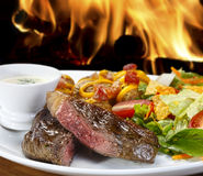 Picanha with salad and white sauce Stock Images