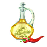 Picant oil. Hand drawn watercolor vector illustration