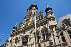 Picardie,贡比涅美丽如画的市政厅在瓦兹省 免版税库存照片