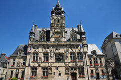 Picardie, the picturesque city hall of  Compiegne in Oise Stock Image
