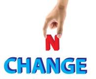 A picareta do dedo letras da mudança e da possibilidade exprime o conceito Foto de Stock