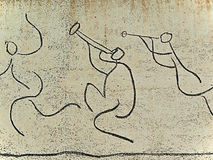 Picasso: El Fris dels Nens (Children Frieze). Frieze of Pablo Picasso, developed using the technique of drawing in drawing lines with a beam of sand under Stock Image