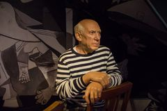 Picasso in the museum of Madame Tussauds. Pablo Ruiz Picasso was a Spanish painter, sculptor, printmaker, ceramicist, stage designer, poet and playwright who royalty free stock photography