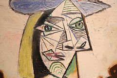 Picasso portrait to his wife and her lover. Painting in which Pablo Picasso portrayed his wife and her lover in the same space and figure Royalty Free Stock Photos