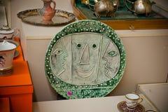 Picasso-Teller 1956 vom Mezhyhya Ukraine Lizenzfreies Stockfoto