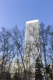 Picasso Tower located in the financial district of Madrid. View of the elegant Picasso tower in the center of Madrid, standing out with its height and its stock image