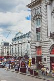 piccadilly马戏细节在伦敦市中心 免版税库存照片