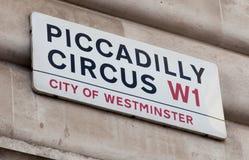 Οδικό σημάδι τσίρκων Piccadilly Στοκ Εικόνες