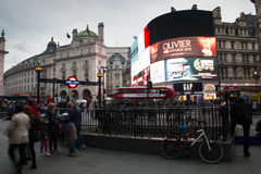 Piccadilly Circus with the billboards in central London, UK Royalty Free Stock Image