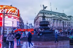 Piccadilly Circus is a famous London landmark and busy destination for tourists. LONDON, UK - JANUARY 12, 2017: Piccadilly Circus with the Shaftesbury Memorial royalty free stock photography